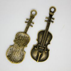 4 pc Violin Large charm, Antique BRONZE Color. The Musical instrument Charm. by AgouraBeads on Etsy
