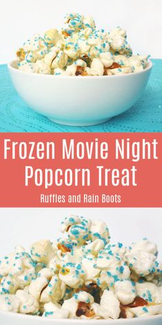 Whip up this kid-friendly FROZEN movie night popcorn recipe. We limit the sugar and still make a treat the kids will go crazy for! #popcorn #popcornrecipes #movienight #FROZEN #Disney #Disneymovienight #FROZENparty #rufflesandrainboots