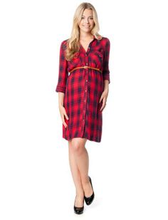 Classic Plaid Belted Maternity Shirt Dress