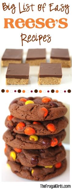 BIG List of Easy Reese's Recipes! ~ at TheFrugalGirls.com - you'll LOVE this recipe collection of Copycat Reeses Bars, Reeses Pieces Cookies, Reeses Brownies and SO many more Reeses Desserts! #dessert #thefrugalgirls