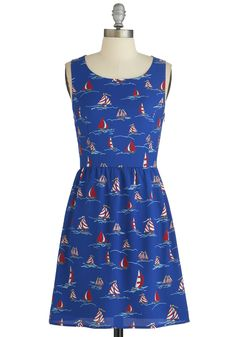 On the Open Seas Dress. Close your eyes - can you picture a warm ocean breeze, calm rolling waves, and the setting sun? #blue #modcloth