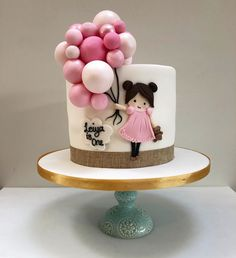Girl and Balloon Cake – Etoile Bakery ideas para mujeres 1st Birthday Cake For Girls, Baby Birthday Cakes, First Birthday Cakes, Bolo Rapunzel, Cake Designs For Girl, Funny Wedding Cake Toppers, Beautiful Birthday Cakes, Baby Girl Cakes, Balloon Cake
