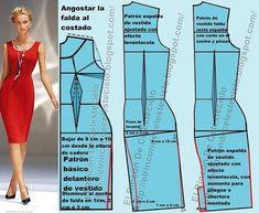Patrones para vestido ajustado falda tubo o lápiz, escote en U