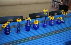 "Cobalt glass and Blackeyed Susans.  by Flowergardengirl (TM) ""Heavenly Cobalt Glass in the Garden"""