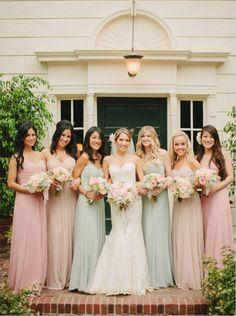 vintage pastel pink rose and mint bridesmaid dresses ideas