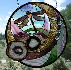 stained glass window panel THE DRAGONFLY by ZuniMountainArtGlass