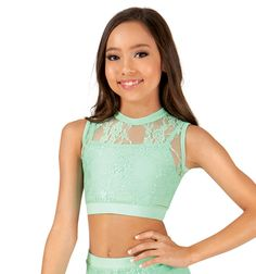 a05ed4be9482 Ingenue Girls Mock Neck Lace Tank Crop Top Lace Tank, Gorgeous Fabrics,  Active Wear