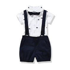 Cute US Baby Boys Bowtie Gentleman Romper Jumpsuit Overalls Rompers Sets 12M Navy Blue * Read more at the image link.