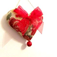 Christmas Ornament Red and Green Floral Brocade Heart by XmasMuse