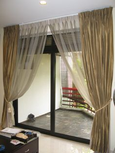 Apartement Luxury Patio Door Curtain Ideas With Brown And Transparent White Colors