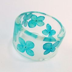 Blue Hydrangea Resin Bangle.  Chunky Bangle by SpottedDogAsheville