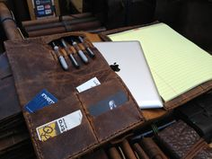 Four mini pocket iPad tablet portfolio - hand stitched business padfolio case - with pen row on Etsy, $226.45 AUD