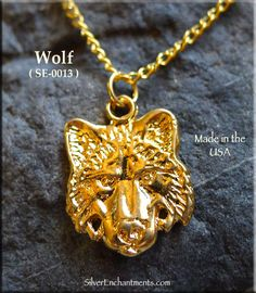 Gold Plated Wolf Charm-Pendant Gold Plated Wolf Pendants Overall Size, approx : x Sold by : Charm Gold Plated Necklace Chain and jump-rings not included. We are no longer Gold Plating. When this gold plated wolf h Witch Jewelry, Wolf, Plating, Pendants, Charmed, Pendant Necklace, Jitter Glitter, Hang Tags, Wolves