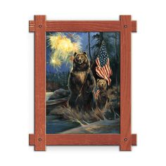 Framed in a rustic-style design, these distressed frames, are the perfect complement to the art they enhance two grizzly bears on a lake shore with fireworks going off in the night sky in the background. Art by Mason Maloof Designs.