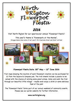 Flowerpot Fiesta Poster 2016 - a lovely village flowerpot fiesta in North Rigton near Harrogate