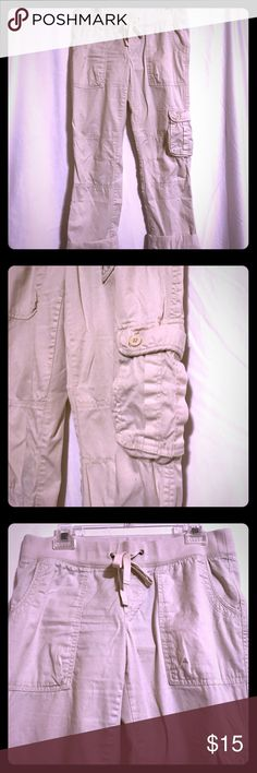 GAP Cargo Pants Khaki colored cargo capris with drawstring waistband GAP Pants Ankle & Cropped
