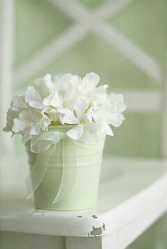 Soothing Sage Green and White Light Spring, Spring Green, Mint Green Outfits, White Flowers, Beautiful Flowers, Vases, White Cottage, Vintage Stil, Romantic Homes
