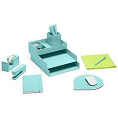 Dream Desk, Aqua (Letter Trays, Accessory Tray, This + That Tray, Pen Cup, Pens, Mouse Pad, Soft Cover Notebook, Stapler, Tape Dispenser, Jumbo Mobile Memo, Binder Clips, Paper Clips)