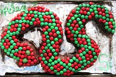 Snake cake with candy scales.