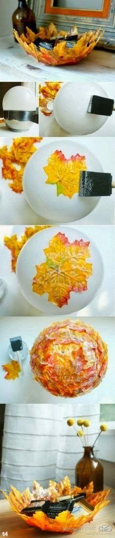 Craft idea: Simple way to create your fall decor #DIY #leaves #bowl /// Tolle Bastelidee zum Selbstmachen: Herbstliche Schale aus Blättern