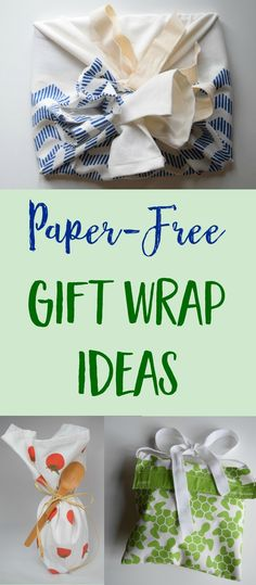 Creative gift wrapping ideas using reusable items like dishtowels, scarves and napkins instead of wasteful wrapping paper. | #giftwrap #zerowaste #DIY