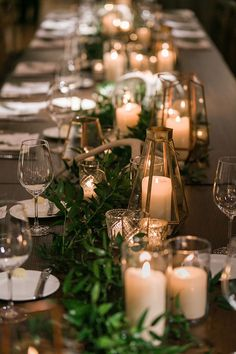 gold and greenery fall wedding centerpiece for long table gold and greenery fall. gold and greenery fall wedding centerpiece for long table gold and greenery fall wedding centerpiece f Fall Wedding Centerpieces, Garland Wedding, Wedding Table Centerpieces, Wedding Table Settings, Flower Centerpieces, Centerpiece Ideas, Long Table Decorations, Head Table Wedding Decorations, Fall Wedding Table Decor