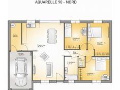 Plans de maison : modèle Aquarelle : maison de plain-pied de 90m2. 3 chambres #Maison #plans #PlainPied #MaisonsFranceConfort Patio, Beautiful Homes, Modern Design, House Plans, Sweet Home, Floor Plans, Loft, How To Plan, Architecture