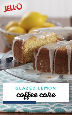 Glazed Lemon Coffee Cake – Full of bright citrus flavor, this morning baked good is one tasty way to start your day! Featuring a fresh citrus glaze, make sure to check out this recipe today. Peanut Butter Desserts, Lemon Desserts, Lemon Recipes, No Bake Desserts, Just Desserts, Delicious Desserts, Dessert Recipes, Baked Banana, Coffee Cake
