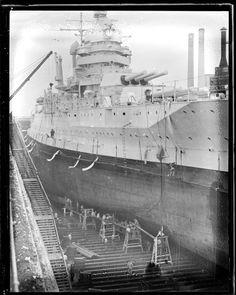 USS Idaho (BB-24) in drydock, Boston 1935. [510x639]
