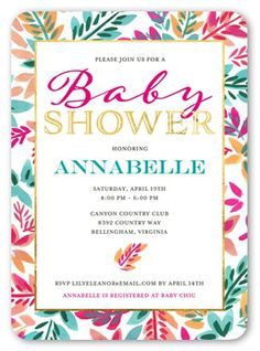 floral shine girl 5x7 greeting card baby shower invitations shutterfly