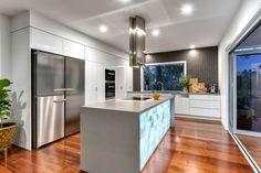 Design & Construction by A & K Designer Build Image by Prime Pixels Photography Pixel Photography, Modern Kitchen Interiors, Engineered Stone, White Quartz, Boutique Design, Kitchen Colors, Colours, Bathroom, Table