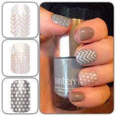 Jamberry nail lacquer in Ash and nail wraps in white chevron, mini white polka and gray & white polka.