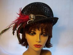 Black Beret with Brim Toyo Straw Hat. $50.00, via Etsy.
