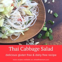 Delicious gluten-free recipes your family will love. Over 800 recipes, from baked goods to main dishes. Cabbage Salad Recipes, Salad Dressing Recipes, Salad Recipes Gluten Free, Rice Vermicelli, Salad In A Jar, Winter Salad, Salad Ingredients, Free Mom, Food Processor Recipes