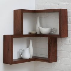Add a few floating shelves and make more space. Tronk Design Floating shelves are an awesome bedroom storage solution. They free up floor space and allow more natural light to flow through your hom… Wood Corner Shelves, Walnut Shelves, Corner Shelf, Wood Shelf, Corner Table, Box Shelves, Shelf Wall, Kitchen Shelves, Storage Shelves