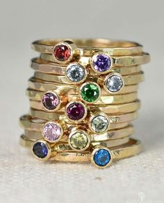Classic Gold Filled Birthstone Rings Gold by Alaridesign Modern Jewelry, Fine Jewelry, Gold Jewelry, Jewellery Bracelets, Trendy Jewelry, Mother Rings, Everyday Rings, Gold Plated Rings, Gold Bands