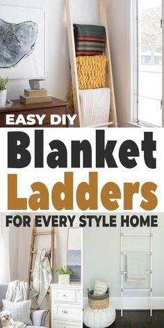 DIY blanket ladders are one of the most satisfying projects you can make, because you will use them everyday. They are trendy and on point. And, they will take your boring room from boring, to something special. #diyhomedecor #diyblanketladders #blanketladders #homedecorating #decoratingideas #homedecoratingideas #diyhomedecorideas Rustic Blankets, Modern Blankets, Diy Projects Cans, Easy Projects, Craft Projects, Wooden Blanket Ladder, Diy Home Repair, Living Room Flooring, Decorating On A Budget