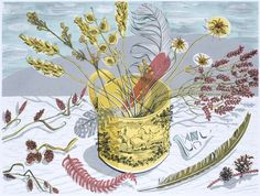 Angie Lewin THE YELLOW CUP Sikscreen Image size H 45cm x 60cm Unframed