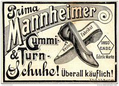 Original-Werbung/ Anzeige 1897 - MANNHEIMER GUMMI - UND TURNSCHUHE - ca. 80 x 60 mm