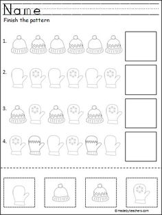 Free Winter Cut and Paste Pattern Worksheet