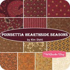 Poinsettia Hearthside Seasons Fat Quarter Bundle Kim Diehl for Henry Glass Fabrics