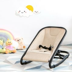 The 2-in-1 baby rocking chair not only can quickly comfort your baby to fall asleep but also provides them with a safe playing space. In other words, our baby rocker is an ideal companion for novice parents. By adjusting the support foot, our recliner can be easily converted into a rocking chair. The 3-point safety belt can secure your baby on the rocking chair and prevent them from turning over. In addition, 2 adjustable tilt positions make our rocking chair suitable for babies or older bab