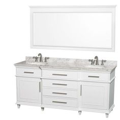 Wyndham Collection Berkeley 72 in. Double Vanity in White with Marble Vanity Top in Carrara White, Oval Sink and 70 in. Mirror-WCV171772DWHCMUNRM70 at The Home Depot