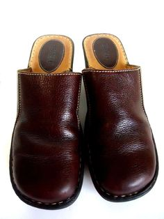 Born Brown Leather Wedge Slip on Mules Clogs Women 10/42 hand-crafted shoes #Born #PlatformsWedges