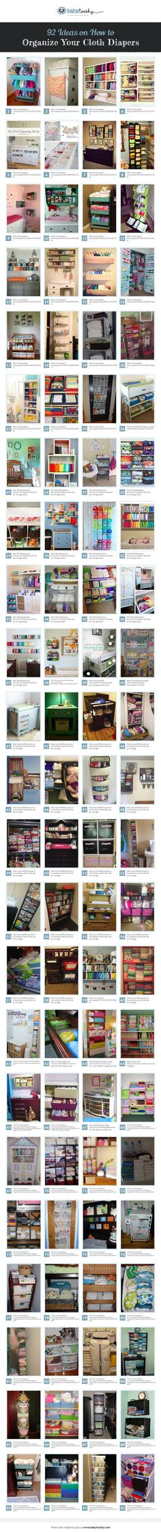 Need to organize your cloth diapers? This is a great collection of ideas on how to KEEP  them organized. Here are 92 Cloth Diaper Storage ideas. Please repin. http://babytooshy.com/92-cloth-diaper-storage-ideas/