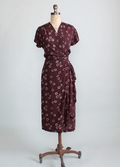 Vintage 1940s brown floral rayon wrap dress
