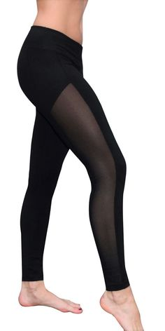 Mesh Yoga Pants/Leggings (Side Panel, Black)