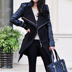 #Lapel Leather Sleeve Long Woolen Coat  Coats Women  #2dayslook #fashion #nice #Coats #Women  www.2dayslook.com