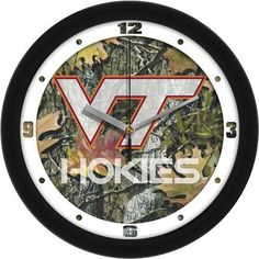 Virginia Tech VT Hokies Camo Wall Clock