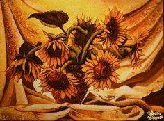 Картина из янтаря Подсолнухи на занавеске цена - Картины из янтаря - Цветы <- Картины из янтаря <- Картины купить - Каталог | Купить подарки, Интернет-магазин подарков и сувениров